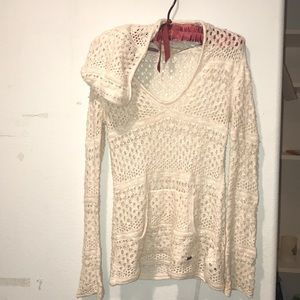 Roxy small Cream knit hoodie boho/surfer girl